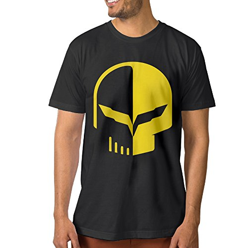 XJBD Men's Chevrolet Logo With Punisher Skull Symbol Novel Screw-Neck Tees Black Size S