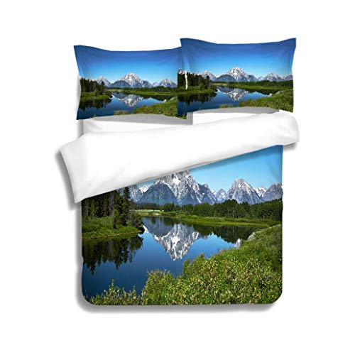 (MTSJTliangwan Family Bed Grand Tetons from Oxbow Bend Wyoming 3 Piece Bedding Set with Pillow Shams, Queen/Full, Dark Orange White Teal Coral)