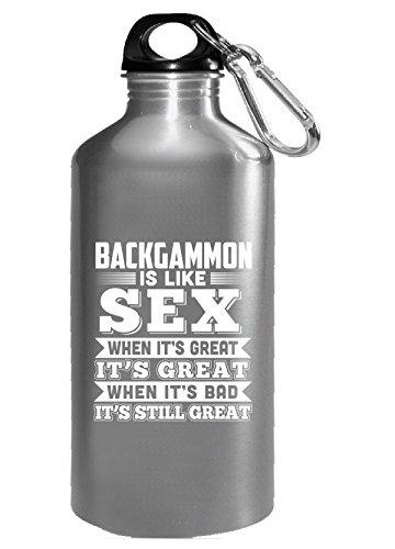 Backgammon Is Like Sex Funny Backgammon Gift - Water Bottle by Brands Banned