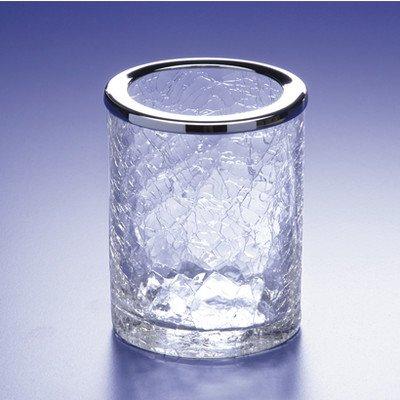 - Acqua Crackled Crystal Glass Toothbrush Holder Finish: Satin Nickel