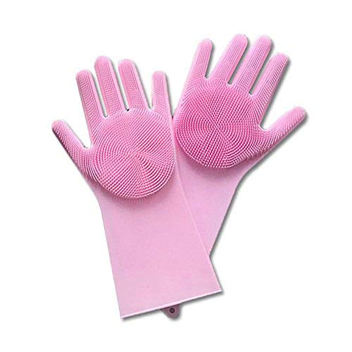 Price comparison product image Dreamyth Magic Reusable Silicone Gloves Cleaning Brush Scrubber Gloves Heat Resistant for Dish Wash Cleaning Pet Hair Care (Pink,  35.7x16.5cm)