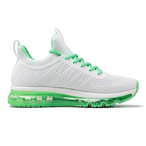 Cushion Sneakers Mesh Sports Green Lace Air Upper Light Casual Walking ONEMIX Unisex White Running up q14BU
