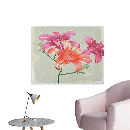 (Anzhutwelve Vintage Floral Wallpaper Lily Flowers on Grunge Backdrop Gardening Plants Growth Botany The Office Poster Pale Green Salmon Pink W36 xL24)