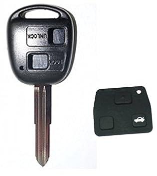 Carcasa de llave Toyota/Land Cruiser con 2 botones - Corolla, Celica, Rav4, Yaris Avensis: Amazon.es: Coche y moto