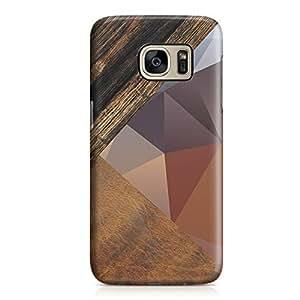 Samsung S7 Edge Case Geometrical Wood Pattern Print 3 Tone Sleek Design Durable Samsung S7 Edge Cover Wrap Around