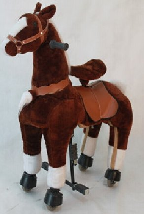 Dark Chocolate Brown Med Pony Rocking Horse Ages 5-10 Ride on Toy with Trotting Action Giddy Up Cowboy! by TODDLER TOYS