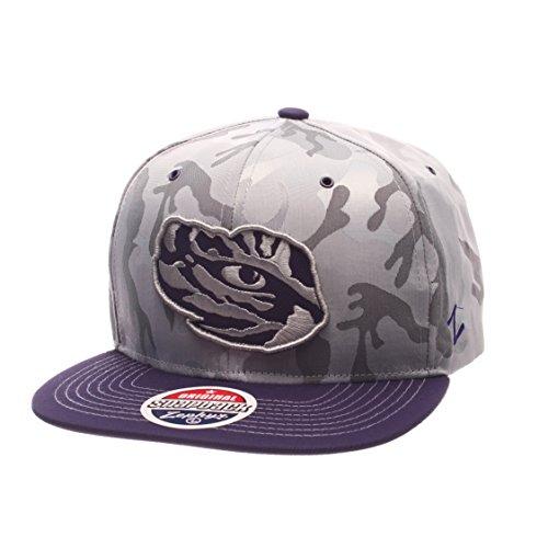 NCAA LSU Tigers Adult Men's Brigade Snapback Hat, Adjustable Size, Gray Camo/Team (Lsu Tigers Camo)