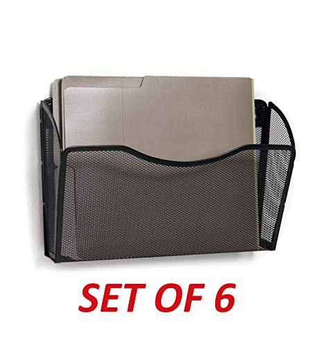 Klickpick Office Mesh Metal 6 Pockets Office Wall Mount Hanging File Folder Organizer Holder Rack Wall Files Magazine Organizer Holder (Black)