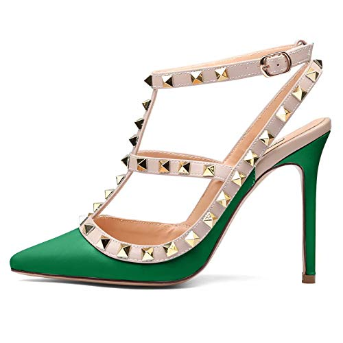 Green Heel High Slingback - Chris-T Women Pointed Toe Stilettos Sandals Studs Strappy Slingback High Heels Leather Pumps Green Matte Size 6 US