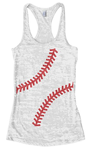 (Threadrock Women's Baseball or Softball seams Burnout Racerback Tank Top M White )