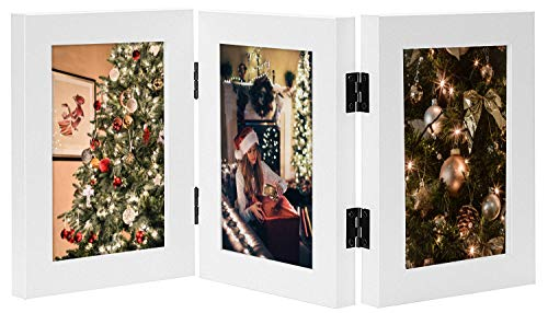 Golden State Art, Decorative Hinged Table Desk Top Picture Photo Frame, 3 Vertical Openings, 4x6 inches with Real Glass (4x6 Triple, White) (Opening Photo Frame 3)