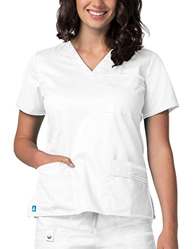 - Adar Pop-Stretch Junior Fit TaskWear Scrub Top - 3202 - White - S