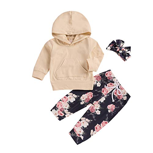 Infant Boys 1 Pc Outfit - 3 Pcs Baby Girls Florals Outfit Set Long Sleeve Hoodie Sweatshirt +Pants +Headband (Yellow Floral, 0-6 M)