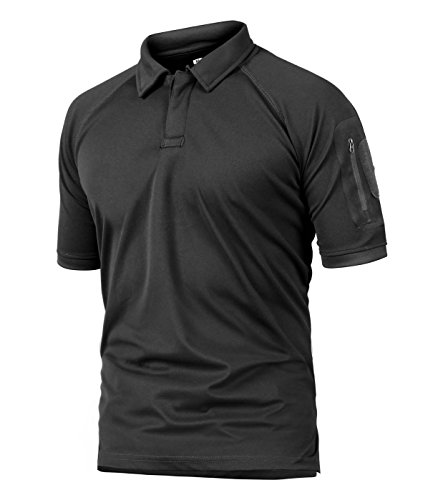 CRYSULLY Men Summer Shirt Top, Mountain Ripstop T-Shirts Hunting Military Trekking Hiking Outwear Army Polo Shirt Black