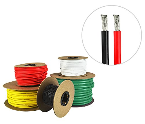 8 AWG Marine Wire - Tinned Copper Primary/Battery Boat Cable- 13 Feet Red, 13 Feet Black - Made in The USA ()
