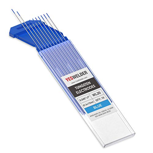 "TIG Welding Tungsten Electrode 2% Lanthanated .040"" x 7"" (Blue, EWLa-2) 10-pk YESWELDER"