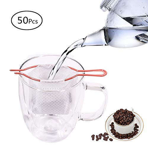 50PCS Disposable Drip Paper Coffee Tea Filter bag with Bracket Hanging Ear Strainer Portable Perfect for Travel Home Office