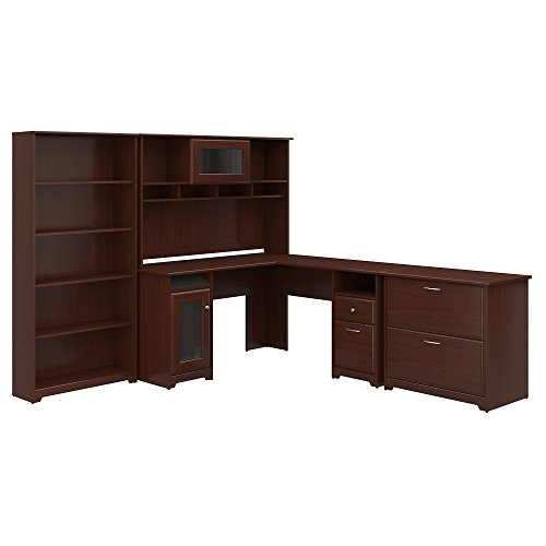 Cabot L Shaped Desk with Hutch, Lateral File Cabinet and 5 Shelf Bookcase