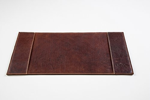 Genuine Leather Desk (ALPENLEDER 11 x 22 Inch Genuine Leather Desk Pad - Luxury Buffalo Leather Desk Blotter - Award Winning Design Desk Mat for the Office and Home - Designed in Germany, Brown)