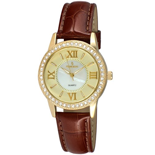 Peugeot Women's '14K Gold Plated' Quartz Metal and Leather Dress Watch, Color:Brown (Model: 3044GBR) (14k Gold Watch Leather Strap)