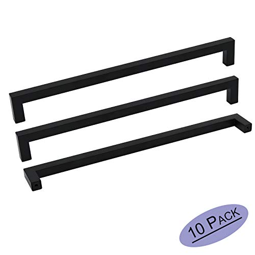 10Pack Goldenwarm Black Square Bar Cabinet Pull Drawer Handle Stainless Steel Modern Hardware for Kitchen and Bathroom Cabinets Cupboard, Center to Center 11-1/3in(288mm)