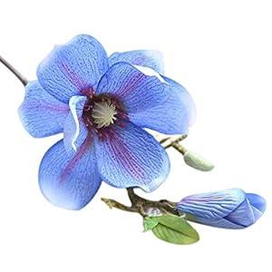 MARJON FlowersArtificial Flower Foam Rose Wedding Bridesmaid Bridal Bouquet Party Decor Leaf Magnolia Floral Home Decor Fake Orchid Flowers (Blue) 95