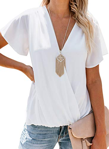 Itsmode Womens Sexy V Neck Lightweight Chiffon Blouse Wrap Front Surplice Tunic Shirts Short Sleeve Loose Tops White XXL (Wrap Blouse White)