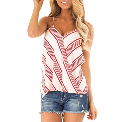 - Women Tank Tops Adjustable Spaghetti Straps Tank Top Vintage Striped Tops Cross Wrap Summer Sleeveless Shirts Blouse Red