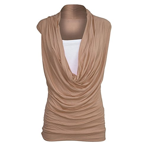 Oops Outlet Women's Ruched Cowl Neck Vest 2 in 1 Sleeveless Jersey Tank Top S/M (US 4/6) Mocha
