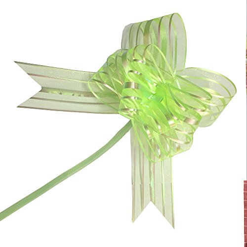 PETMALL 10pcs Organza Pull String Bows Wrap Ribbon for Wedding Party Home Decoration Green OFFICE-785