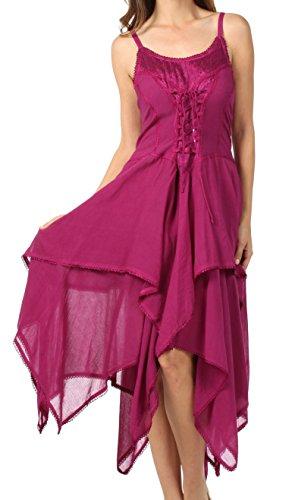 Sakkas 0131 Corset Style Bodice Jaquard Lightweight Handkerchief Hem Dress - Magenta - One Size Plus
