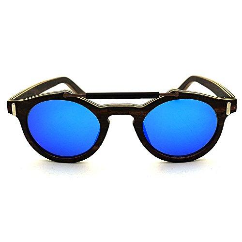 Colores UV400 Gafas de Azul Lentes a Aclth Unisex Azul de Unisex Madera Sol Azul protección de Mano polarizadas Hechas PC7x5f17qw