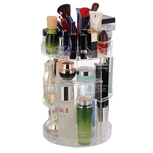 Crystal Clear Cosmetics - Rotating Makeup Organizer, 360 Rotating Crystal Cosmetic Storage 6 Layers Adjustable Great Capacity Jewelry Organizers and Storage for Dresser Bedroom Bathroom (Clear)