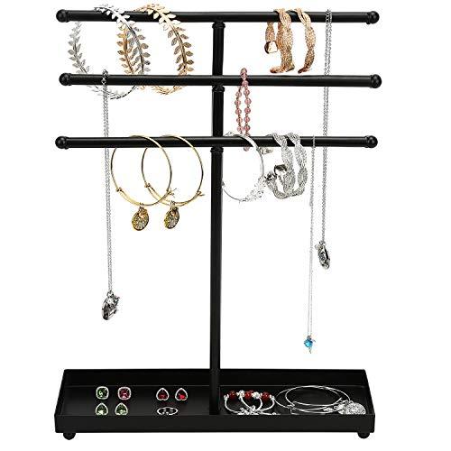 Widousy New Modern Black Metal 3 Tier Jewelry Tree Stand Organizer Tabletop Bracelet & Necklace Jewelry Organizer (Stand Metal Tree Jewelry)