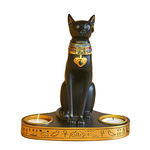 Cat Figurine Candle - Moylor Tea Light Candle Holders - Ancient Egypt Kitty Egyptian Bastet Cat Goddess Statue Votive Candle Holder (7.5