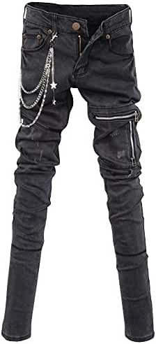 HENGAO Men's Punk Denim Jeans Pants Trousers with Fashion Chains Black