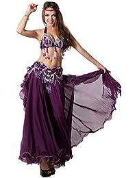 Belly Dance Costume,Top Bra Belt Skirt 3Pcs,Tribal Style,Purple
