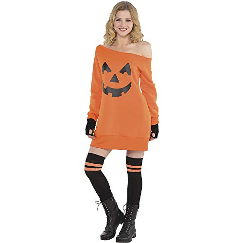 AMSCAN Jack o' Lantern Off Shoulder Halloween Dress for Women, One Size -