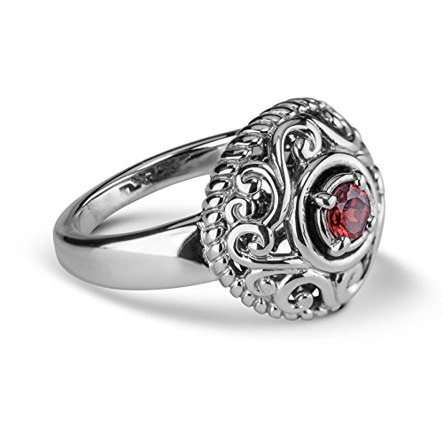 Carolyn Pollack Sterling Silver Red Garnet Gemstone January Birthstone Ring Size 6 ()
