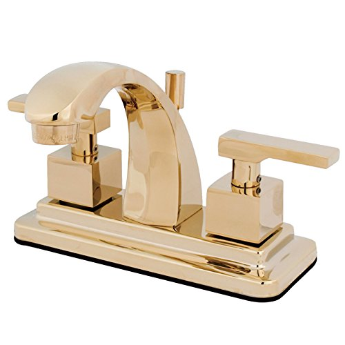 Kingston Brass KS4642QLL Executive 4-Inch Twin Lever Handle Centerset Lavatory Faucet, Polished Brass