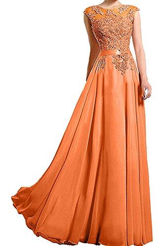 Promkleider Abschlussballkleider Lang Brautmutterkleider Linie A Ballkleider Spitze Charmant Orange Damen Abendkleider RSqznYw