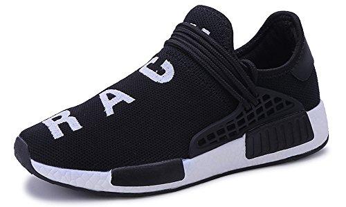 JiYe Men's Running Shoes Women's Free Transform Flyknit Fashion Sneakers Black