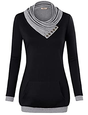 Timeson Women's Long Sleeve Cowl Neck Pullover Kangaroo Pocket Knitted Sweatshirt