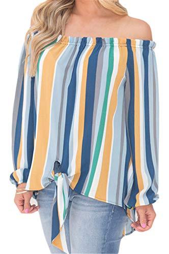 Iris Trapecio Bardot Azul Stripe Larga Cuello Vuelo Escote De Rayas Top Blusa Arco Manga Blusón Camisa ORXwq1xtR