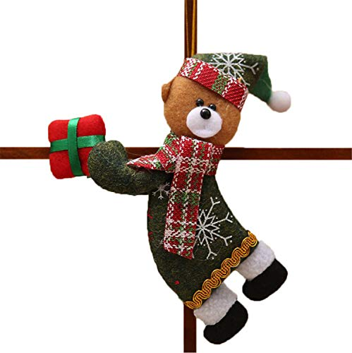 FANRENYOU 1PCS Santa/Snowman/Deer Merry Christmas Doll Tree Pendants Ornaments Home Christmas bear1
