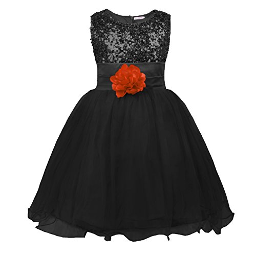 JerrisApparel Little Girls' Sequin Mesh Flower Ball Gown Party Dress Tulle Prom (7, Black) (Kids Black Dresses)