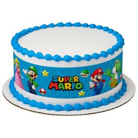 Super Mario Bros Game On Edible Icing Image Cake Border Strips by Whimsical Practicality
