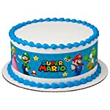 Super Mario Bros Game on Edible Icing Image Cake Border Strips