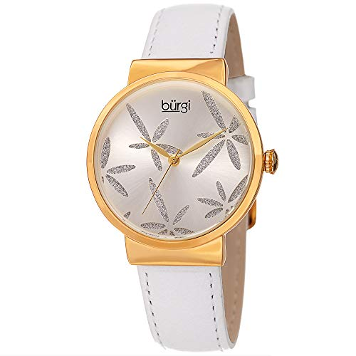 - Burgi Sparkling Flower Women's Fashion Watch - Amazing Sunray Dial with Glitter Powder Flower On Leather Strap - BUR191