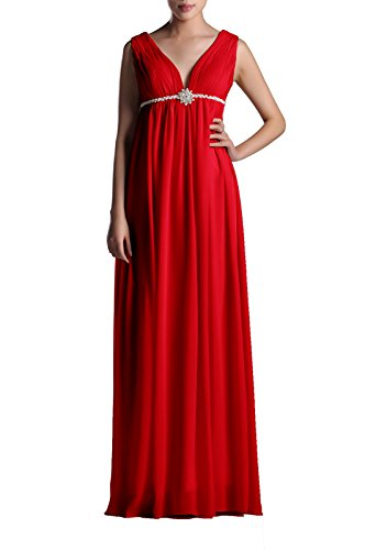 Length Dress A Women's Line Red Full Chiffon Adorona Zq8H5